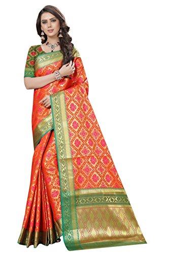 Nirja Creation Multi Color Fancy Party wear Cotton Silk Patola Saree (MorP)...