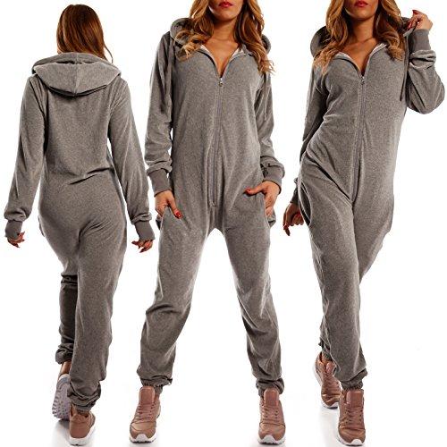 Crazy Age Damen Jumpsuit aus SAMT (Nicki, Velvet) Wohlfühlen mit Style. Elegant, Kuschelig, Weich. Overall Ganzkörperanzug Onesie (Grau, M) - 3