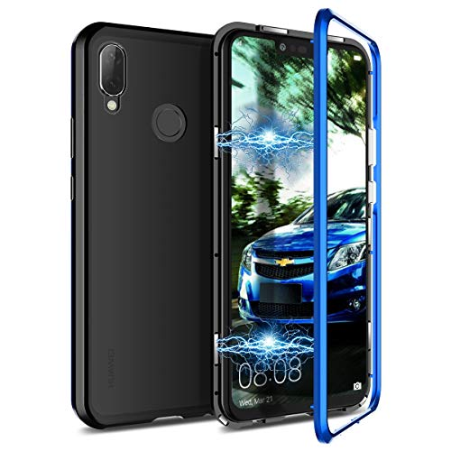 CE-Link Huawei P Smart Plus Hülle Huawei P Smart+ Hülle Glas mit Magnetisch Panzerglas Durchsichtig Handyhülle Transparent Ultra Slim Dünn 360 Grad Schutzhülle Bumper Schutz - Blau + Schwarz
