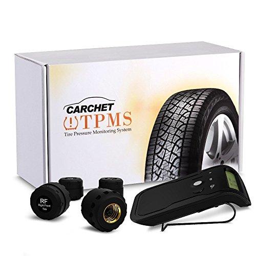 Preisvergleich Produktbild CARCHET Auto KFZ TPMS Reifenluftdruckmesser Reifendruckprüfer Überwachungssystem mit 4 Sensoren Tire Pressure Monitor System Alarm Sonnenblende