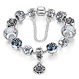 A TE® Bracciale Charm Beads Fiori di Vetro Smalto Catena Sicurezza Regalo Donna #JW-B107 (Bianco)