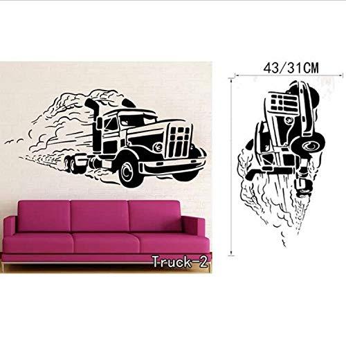 zoomingmingli Wandaufkleber Personalisierte Name BAU Bagger Vinyl Wandkunst Aufkleber Kinder Farm Trucks Autos Wandtattoos Wandbild Für Kinderzimmer