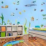 Wandkings Ozean Unterwasserwelt Wandsticker Megapack Set, 72 Aufkleber, Gesamtfläche 260 x 70 cm
