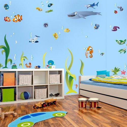 Wandkings Ozean Unterwasserwelt Wandsticker Megapack Set, 72 Aufkleber, Gesamtfläche 260 x 70 cm (Nemo Baby-dusche Dekorationen)