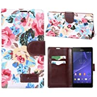 Flip Case Handy-Hülle Business Case zu Sony Xperia Style / T3 Blumen Frühling Sommer Weißtöne