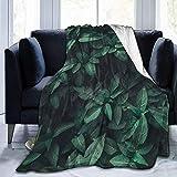 Searster$ Fleece Blanket Grünes Blatt pflanzt Farn-Garten-gemütliche Plüsch-Feste Wurfs-Decke,super weiche flockige Vlies-Decke für Schlafzimmer-Wohnzimmer, 102X127Cm