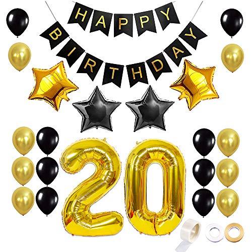 Juland 20. Geburtstag Luftballons Dekoration Happy Birthday Banner Party Zubehör Sets für Männer Boy Folienballons Gold Silber Schwarz Dekor mit Folienballon Star Latex Ballon