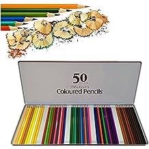 COFIVE 50 Premium Lápices de colores Colorante Lápices de dibujo Para niños Artista Pintura Bosquejo Escritura Libros para colorear adultos Jardín secreto Garabatear Álbum de recortes Con exquisito lápiz