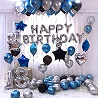 Happy Birthday Silver Decoration Set   Package Contains: 🔵 Happy Birthday Foil Balloon Set-Set of 13 Letters🔵 30 HD Metallic Balloons in Blue, Silver and Black Colors🔵 1 Straw🎈 NON-TOXIC & SAFE:100% Natural Balloons Have Been Rigorously Tested...