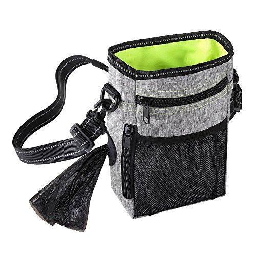 Ranphy Hunde Leckerli Futter Tasche Training Tasche, wasserdicht, mit integrierten Kotbeutel Halter Spender verstellbar Reflektierende Gürtel für WAIS/Schulter Kordelzug Schließung 3 Wege zu Tragen - Ripstop-kordelzug