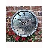 Gartenuhr Westminster silber Metall D35cm