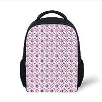 Kids School Backpack Modern,Macro Butterfly Figure Spiritual Wings Life Symbol Animal Illustration,Sepia Marigold Cinnamon Plain Bookbag Travel Daypack