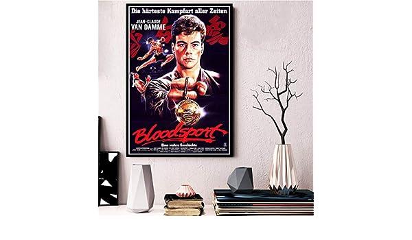 70cm kein Rahmen QAQTAT Bloodsport 1988 Vintage Filmplakat Leinwanddruck HD-Druck Wandkunst Bilder Bar Wandkunst Wohnkultur 50