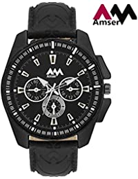 Amser Trendy Black Dial Casual Analog Watch For Men's