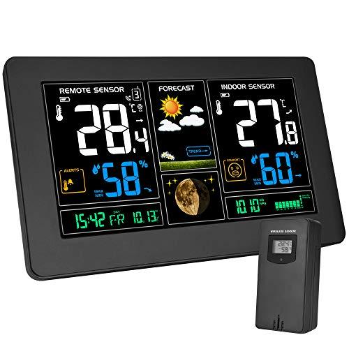 Kalawen Wetterstation mit Außensensor Innen und Außen 9-IN-1 Funkwetterstation mit Farbdisplay Digital Thermometer-Hygrometer Regenmesser und Uhrzeit Anzeige Silber für Zuhause Büro