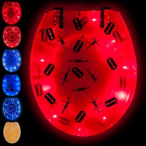 TecTake LED Toilettendeckel Toilettensitz WC Brille Sitz Klobrille -diverse Farben- (Stacheldraht   Nr. 400859)