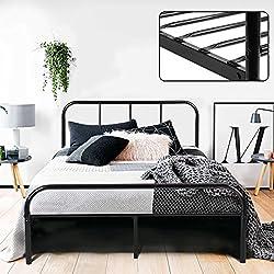 coavas Doppelbett Metallbett 4ft Doppelbett 6 Solid Bettstelle mit 2 Kopfende Metallbett Schwarz