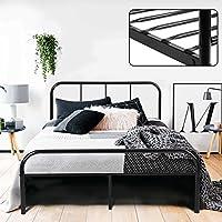 Estructura de Cama Doble de 140cm de Metal Cabecero y Marco Completo Estilo Simple Industrial color Negro (140cm x 198cm) - Muebles de Dormitorio precios