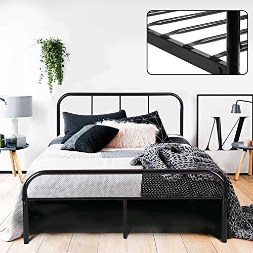 Estructura de Cama Doble de 140cm de Metal Cabecero y Marco Completo Estilo Simple Industrial color Negro (140cm x 198cm)