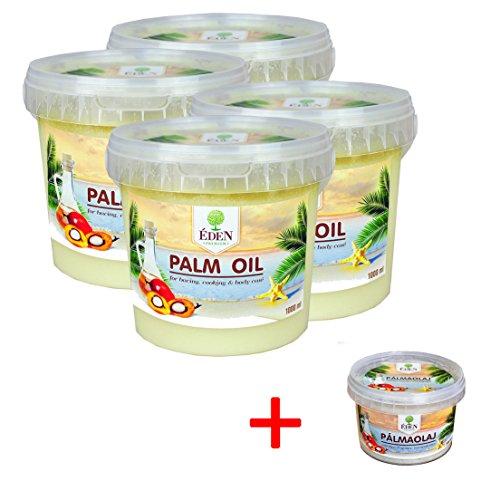 Preisvergleich Produktbild Palm Oil,  Palmöl 4 x1000 ml im praktischen Eimer + Gratis Palmöl 500ml