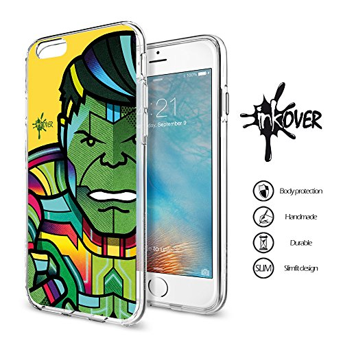 iPhone 7 (4.7) - INKOVER - Custodia Cover Soft Case Guscio Bumper Trasparente Sottile Slim Fit Tpu Gel Morbida INKOVER Design Hero Super Eroi BAT MAN per APPLE iPhone 7 (4.7) LINCREDIBILE