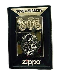 Zippo Custom Lighter - Samcro Sons of Anarchy Reaper Dual Engraving - Regular Black Ice