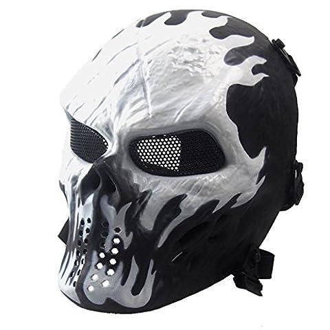 Malloom® Halloween-Maske Airsoft Paintball Voll Gesicht Schädel-Skeleton CS Maske Tactical Military Mask (weiß)
