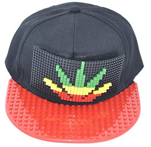 Shine EINSTELLBARE KAPPE ODER HUT, BASEBALL - FALT HIP HOP MODE UNISEX & MULTI DESIGN CAP ASSEMBLE (420-LEAF) Block-logo-hut