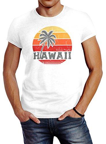 Retro-shirts Für Männer (Neverless Herren T-Shirt Hawaii Palme Tropical Summer Retro Slim Fit Baumwolle weiß L)