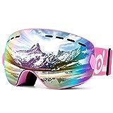 ODOLAND Gafas de esquí para niños y jóvenes, antivaho y protección UV Gafas de Nieve compatibles con el Casco de esquí, (Rosa)
