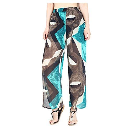 Blau Hosen, Lylafairy Damen Elegant High Waist Stretch Chiffon Skinny Casual Hosen Blumenmuster (XL, Blau1)