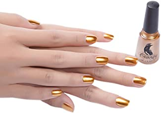 WILLTOO Mirror Nail Polish Plating Paste Metal Color Stainless Steel Size:5.8cm*5.8cm Gold