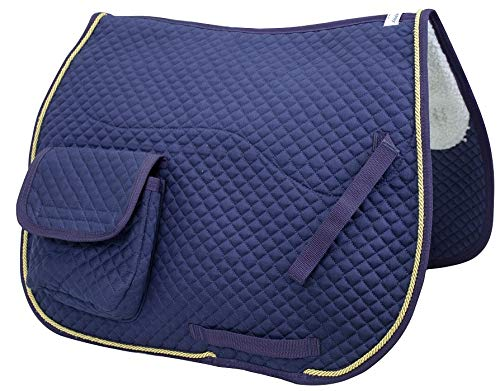"""Derby Originals Dressur- / Australische Schabracke mit Taschen und halber Fleecefutter, Marineblau, 25\"""" x 22\"""""""