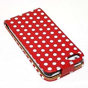 ECENCE 21030501 Apple iPhone 5 5S handy tasche flip case klapp schutz hülle cover retro rot weiss gepunktet inklusive Displayschutzfolie