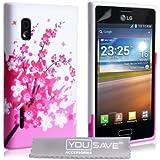 Yousave Accessories LG-FA01-Z079 Coque en gel/silicone pour LG Optimus L5 Motif Floraux Abeille Rose/Blanc