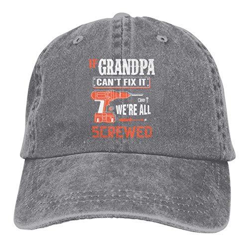 Presock If Grandpa Can't Fix It We're Screwed Cowboy Cap Unisex Trucker Baseball Hat Gray