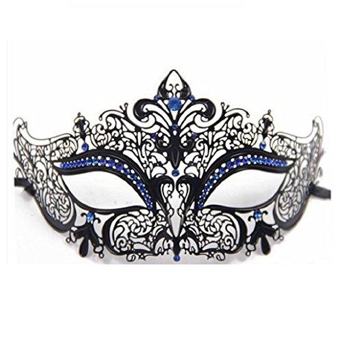 (ShineBlue Masquerade Maske Filigree Metall Augenmaske mit Rhinesones für Frauen Kostüm Maskenball Fancy Party 1 (Black & Blue))