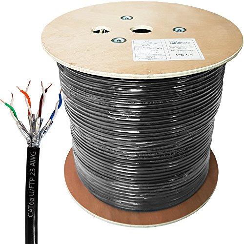 305M Cat. 6A Outdoor spezifische Folie geschirmt/Abgeschirmtes Kabel–Pure Kupfer, Solid Core, 23AWG U/FTP Ethernet Netzwerk Internet Externe Draht Daten Spule Drum–Cablefinder (Cat 6 Geschirmt Solid)