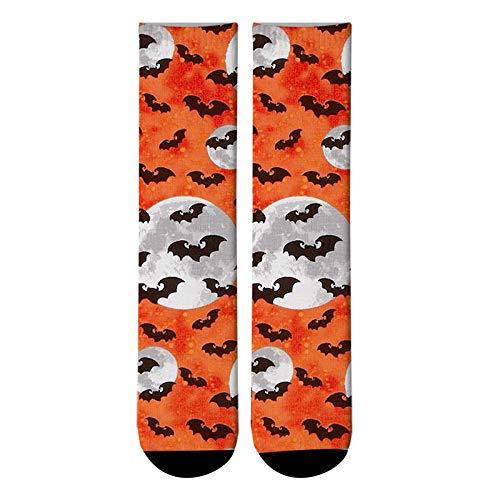 NANAYOUPIN Bequeme Baumwoll Socken (5 Paare) 3D Gedruckt Straße Gesicht Lange Socken Lustige Frau Crew Socken Schöne Straße Trend Fisch Halloween Rohr Socken2