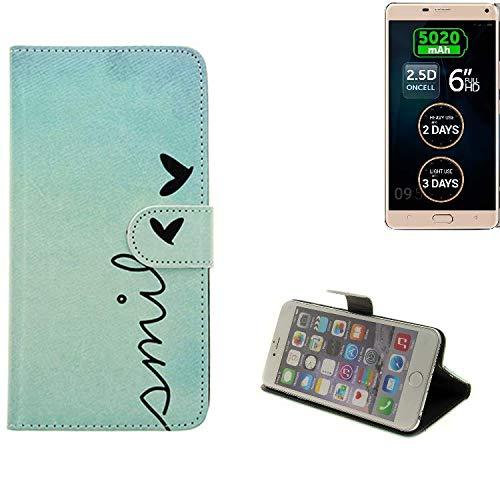 K-S-Trade Für Allview P8 Energy Pro Hülle Wallet Case Schutzhülle Flip Cover Tasche bookstyle Etui Handyhülle ''Smile'' türkis Standfunktion Kameraschutz (1Stk)