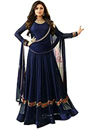 Bipolar Life Women's Special Party Wear Blue Color Faux Georgette Embroidery And Diamond Work Party Wear Semi...