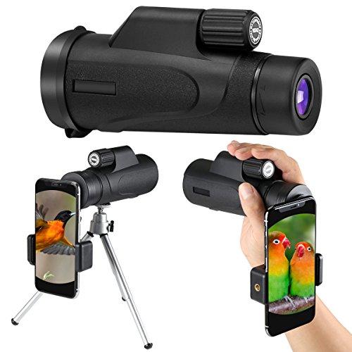 Monokular Teleskop,Aibesser Monokular Handy Monokular Nachtsicht 10x42 HD Monokular mit mobilem Adapter & Stativ, Wasserdicht & Stoßfest, Optimal Geeignet für Camping, Vogelbeobachtung Hd Stativ