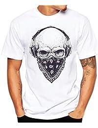 Hmeng Fashion Men's/ Women Summer Crew Neck T Shirt Short Sleeve Tees Graphic Headset Skull Cotton Blouse Top