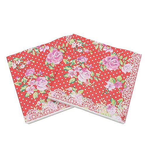 Gysa Servietten 2 Packungen (20 Blatt/Packung) Serie rosa Muster Servietten Papier Pulpa aus Holz Native Servietten Decoupage weich und komfortabel Servietten Papierservietten Blumen 33 * 33cm Stil-4
