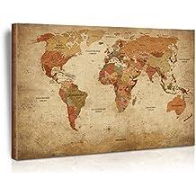 XXL/120x80   Art Design Leinwand Weltkarte   Antik Politisch    Limited Edition  Top Aktuelle Weltkarte 2017 Mit Allen Details   Druck Auf  Echter ...