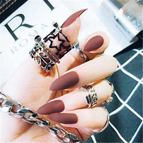 Bloomingboom opaco stiletto finte unghie lungo 12 misure 24 pezzi press on falsi unghie false nail tips nail art colore puro a mandorla pointed matte america rosso