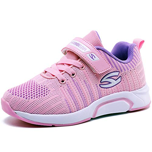 Turnschuhe Kinder Sneaker Jungen Sportschuhe Mädchen Hallenschuhe Outdoor Laufschuhe für Unisex-Kinder (35 EU / 36 CN, Rosa)
