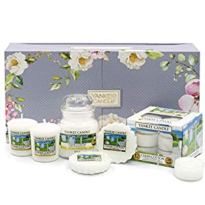 Yankee Candle Gift Set, Clean Cotton, Small Jar Scented Candle, Votives, Wax Melts & Tea Lights, Garden Hideaway Collection