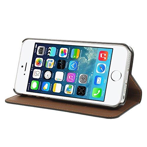 iPhone 66S véritable étui en cuir Premium étui portefeuille à rabat avec support + 2protecteur d'écran, Cuir, rose, iPhone SE/5S/5 noir