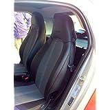 Set de fundas para asientos de automóvil, Uno para el asiento del conductor, uno para el asiento del acompañante, hechas de cuero sintético y sintéticos, aptas para SMART FORTWO 2007-2014 (451), Gris Negro